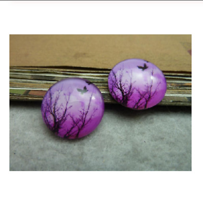 4 x 20mm glass evening glory  cabochon bird NO1 tree blue night
