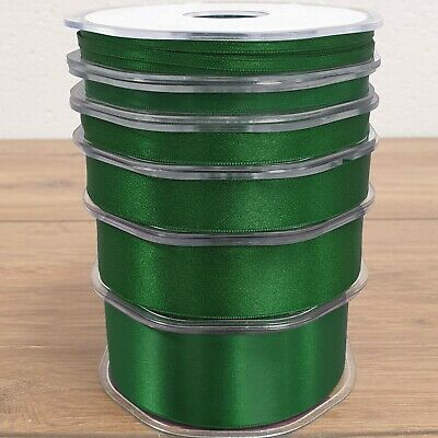 Beautiful Quality Double Sided Satin Ribbon Green 3mm-38mm Wide Plain Cut Per 1M
