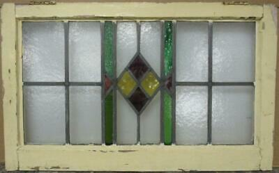 "OLD ENGLISH LEADED STAINED GLASS WINDOW TRANSOM Pretty Geometric 27.75"" x 17.25"""