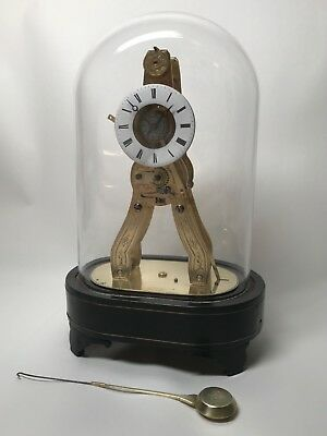 Pretty Miniature Scissor Frame Skeleton Clock With Alarm & Glass Dome Circa 1860