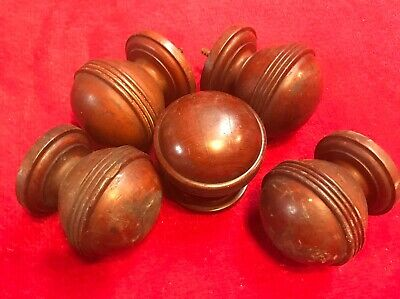 5 Antique Victorian 19th / 20th Century Curtain Pole Mahogany Ends