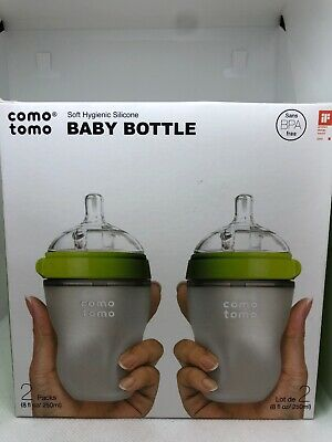 Comotomo 8 oz 3+ Month Med Flow Soft Hygenic Silicone 2 PK Baby Bottle BPA Free