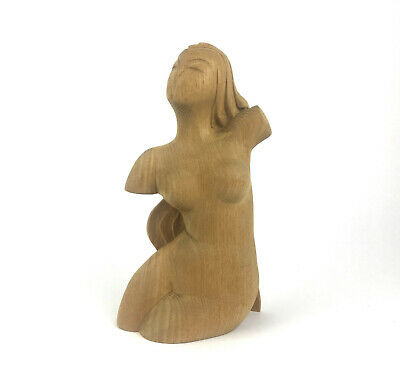 Nude Woman Sculpture Vintage Wood Carved Art Deco Style