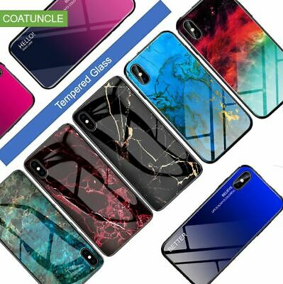 Luxury Marble Grain Gradient Hard Tempered Glass Protective Case for Oneplus 7pr