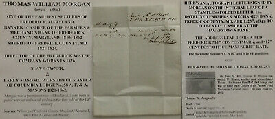 Frederick County Maryland Pioneer Sheriff Banker Slave Owner Letter Signed 1842!