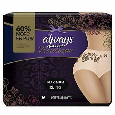 Always Discreet Boutique Incontinence Women Underwear Max Protection XL 16 Pack