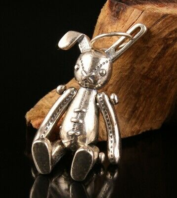 China 925 Silver Hand-Carved Rabbit Statue Pendant Good Luck Gift Collec Old