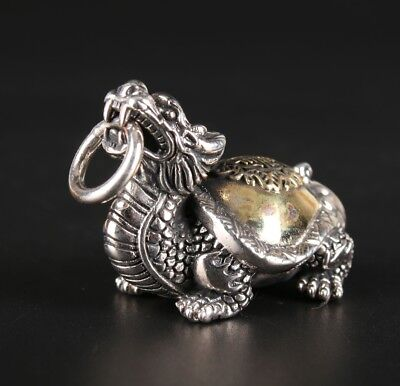 Precious 925 Silver Pendant Dragon Turtle Custom Collection Gift Old