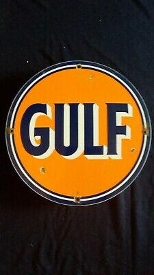 Vintage Gulf Gasoline / Motor Oil Porcelain Gas Pump Sign