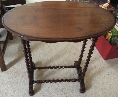 Antique Oval Mahogany Occasional Table With Barley Twist Legs
