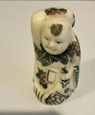 Beautiful Hand Carved Bovine Netsuke Signed..........2