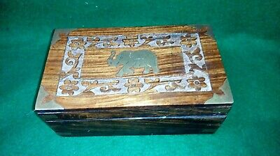 Vintage Carved Jewellery / Trinket Box With Brass Inlay Including Elephant