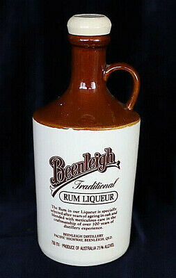 Empty Vintage Beenleigh rum liqueur pottery bottle with cork