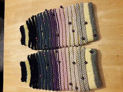 Handmade knitted Leg Warmers 100% merino wool. multi-colour embellished beads