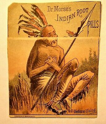 Quack Medicine Advertising Card Indian Root Pills..