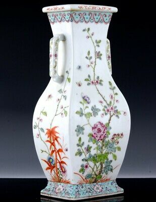 Quality Chinese Famile Rose Turquoise Enamel Faceted Porcelain Vase