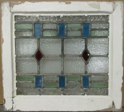 """OLD ENGLISH LEADED STAINED GLASS WINDOW Nice Geometric Design 18.75"""" x 17"""""""
