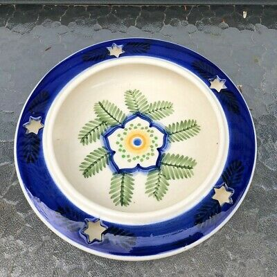 Royal Copenhagen Denmark Faience Aluminia Low Bowl Flower Cut Out Star