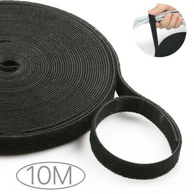 10M Reusable Black Nylon Strap Hook and Loop PC TV Cable Cord Tie Tidy Organizer