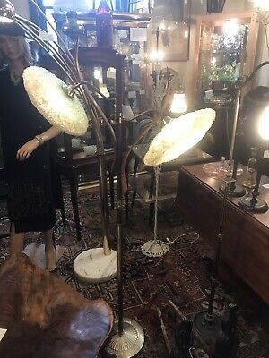 Mid Century Modern Atomic Lucite Spaghetti Floor Lamp with Teak Accents