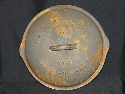 OLD ANTIQUE COOKWARE WAGNER No 8 CAST IRON DRIP DROP SKILLET COVER