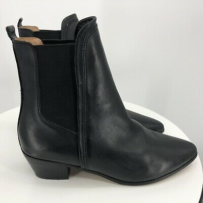 Report Signature Myrna Snake Leather Pointed Chelsea Stacked Heel Ankle Boot