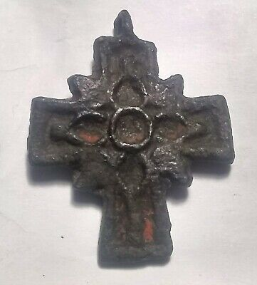 Genuine Ancient Roman Byzantine bronze artifact intact cross pendant decorated