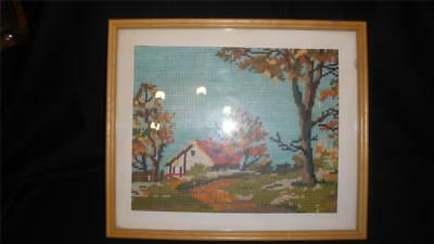 Retro Vintage Framed Small Stitch Tapestry