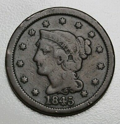 1845 US Liberty Head Braided Hair Cent Coin  KM# 67
