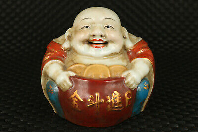 Chinese old porcelain hand carved Maitreya Buddha statue figure