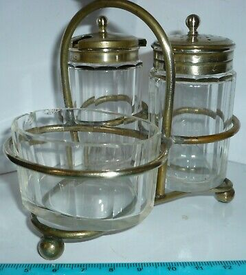Vintage  Silver Plated ?  Epns  Cruet Set  Salt, Pepper & Mustard