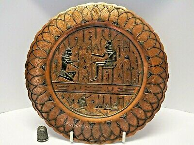Decorative Vintage Copper Cairo Ware Plate with Inlaid Silver Egyptian Design