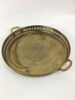 "Solid Brass Round Serving Tray Handles Pierced Sides Handmade in India 11"" Dia."