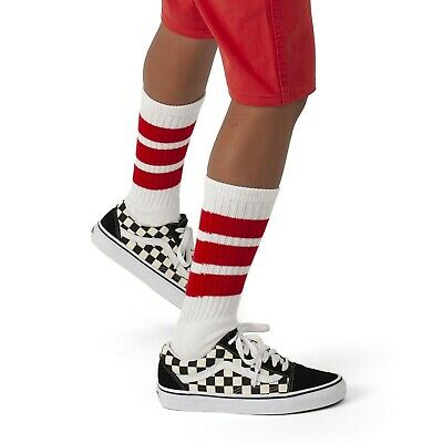 Skatersocks 14 Inch Children Tubesocks White Red Tube Socks for Boys and Girls