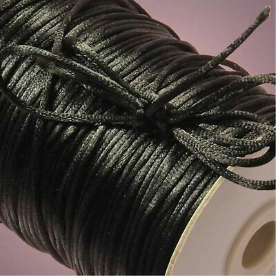 2mm 10yd Satin Rattail KUMIHIMO Braiding Cord Thickness Macrame Thread black