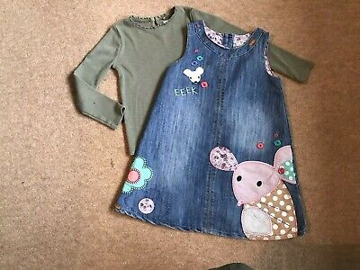 "Girls Next Fab Applique ""Mouse"" Denim Pinafore Dress And Top Set Age 2 - 3 Years"