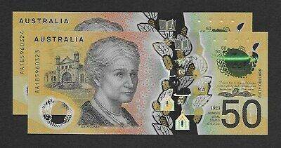 2018 $50 Lowe / Fraser First Prefix Consecutive pair AA185960323 - 24 UNC