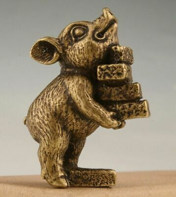 Unique Collection Lovely Gift Old Chinese Bronze Hand-Cast Pig Statue Figurine
