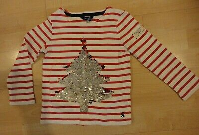 Joules Christmas Red/White L/S Top Sequinned ... Age 6