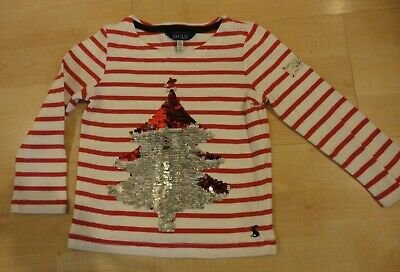 Joules L/S Red/White Striped Christmas Top ... Age 4 ... Sequinned