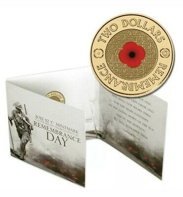 2012 Remembrance Day $2 'C' Mintmark Coloured Unc Red Poppy Coin On Card Ram