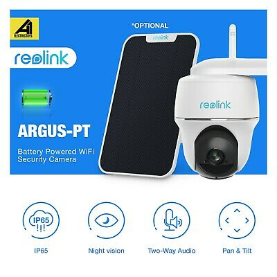 Reolink Argus PT 1080P Rechargeable Battery-Powered Wireless Outdoor camera Sola