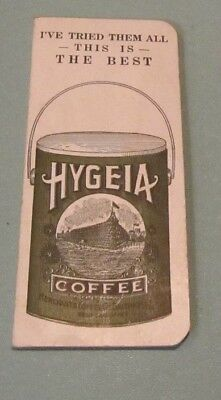 1923 1924 Hygeia Coffee Sewing Needle Book & Calendar Card Baltimore MD Complete