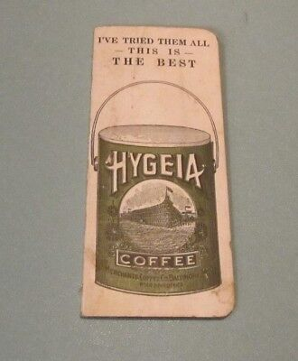 1923 1924 Hygeia Coffee Sewing Needle Book and Calendar Card Baltimore Maryland