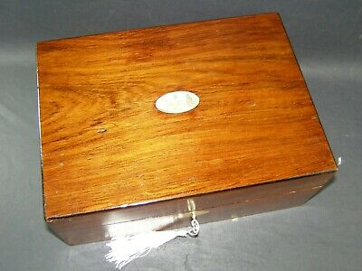 Antique Rosewood Box Mother Of Pearl Center Piece Working Lock & Key c1880