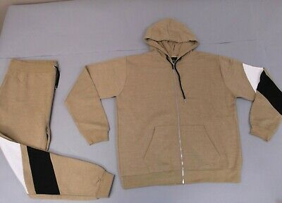 boohoo Men's Big & Tall Tracksuit With Contrast Panels SV3 Taupe Size 4XL NWT