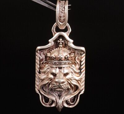 Old Lion King Chinese Tibet Silver Pendant Plate Mascot Craft Collec Gift