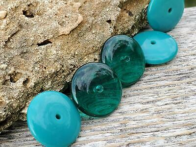Vintage Glass Beads Teal Blue Rondelle Beads DIY Unique Artisan Jewelry Making