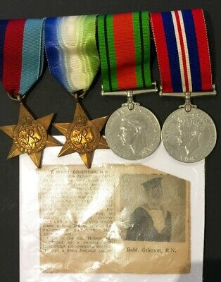 British WW2 - Royal Naval Patrol Service Casualty Medal Group - Robert Grierson