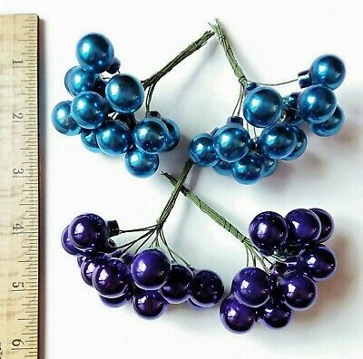 """Lot of 48 BLUE & PURPLE Glass Ball Ornaments Christmas Crafting Picks Color 5/8"""""""